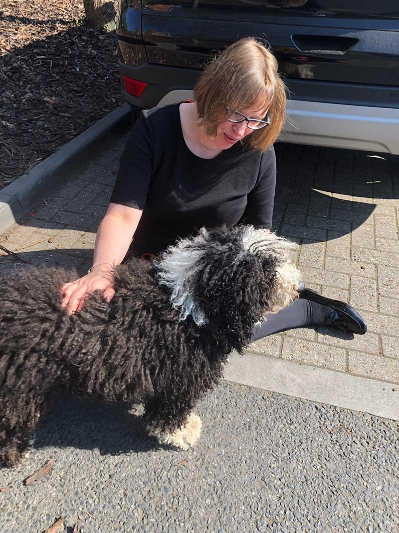 Alan's sister Susan greets Nala in Ludlow