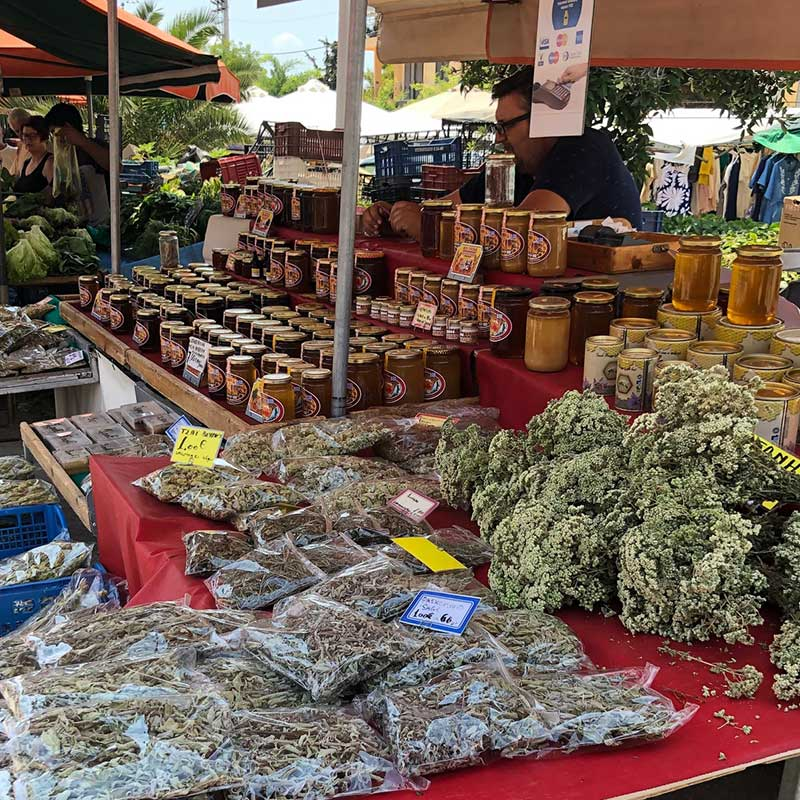 Locally produced herbs and honey