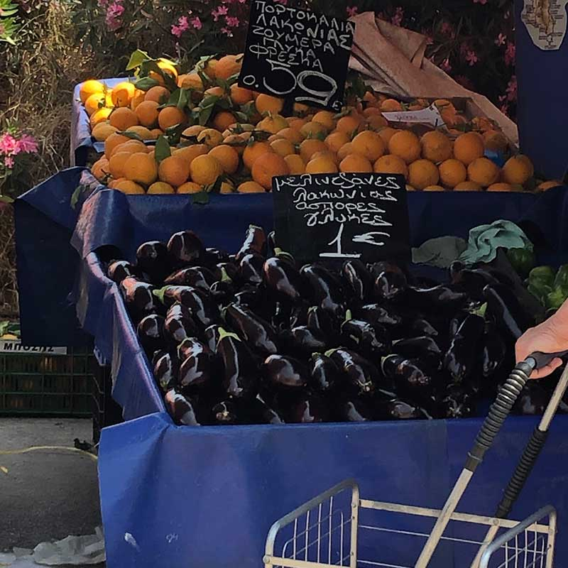 Splendid aubergines and oranges
