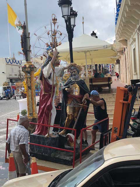 And a statue of St Mary blessing St Jean de Vallette, after whom the Maltese town and harbour of Valletta are named, was brought out