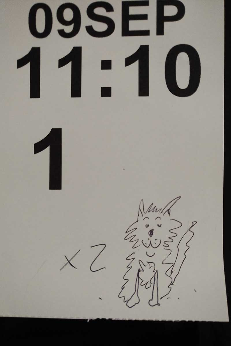 At the P&O check-in, the computer-generated ticket didn't show pets, so an artistic member of staff improvised!