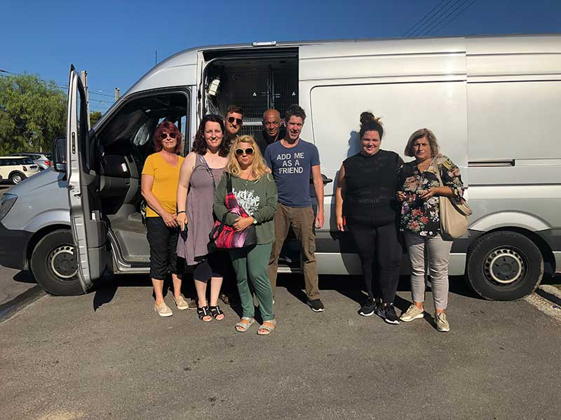 With all the pets on board, it was time for a quick group photo before couriers Glenn and Shane got going. As usual, it was a very friendly atmosphere as all the owners and carers chatted about their charges as they prepared wave them off.