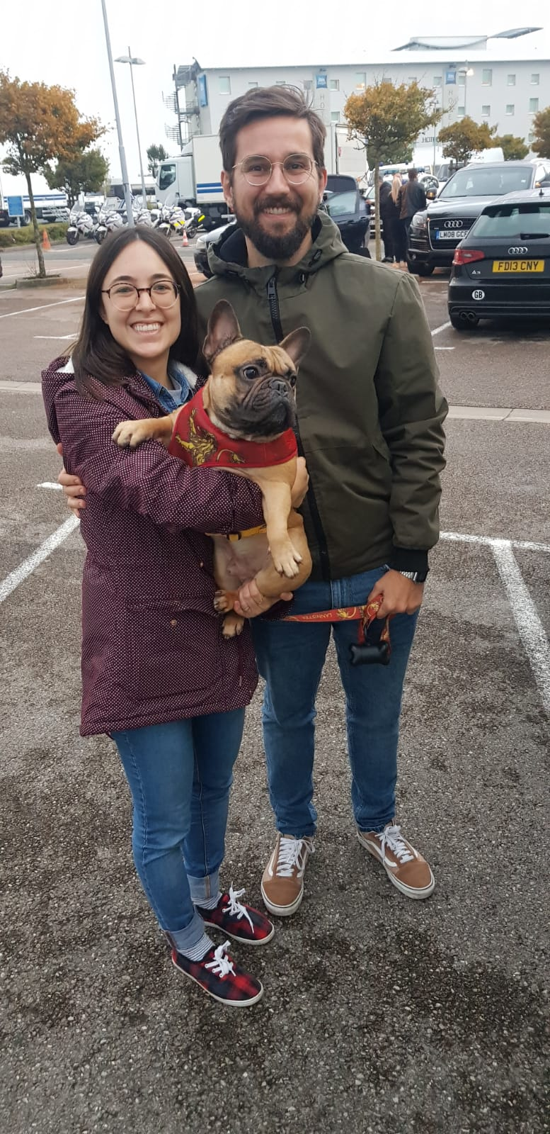 Smiles all round as Yoda and his owners are reunited