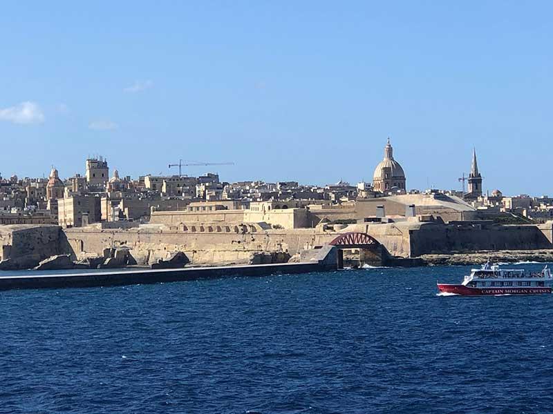 Approaching Malta's Valetta harbour