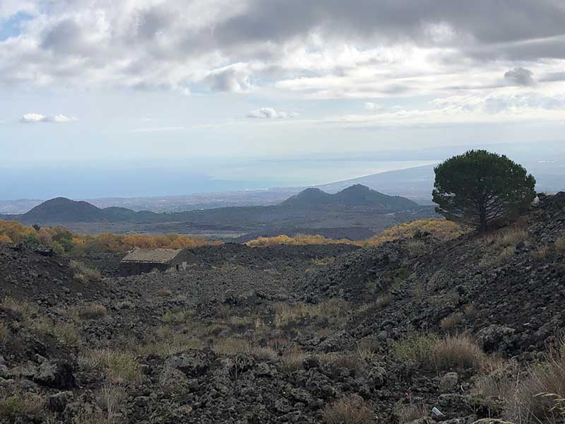 The view from Etna across the lava field