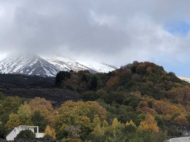 More autumnal colours — this time against the snow-clad slopes of Mount Etna