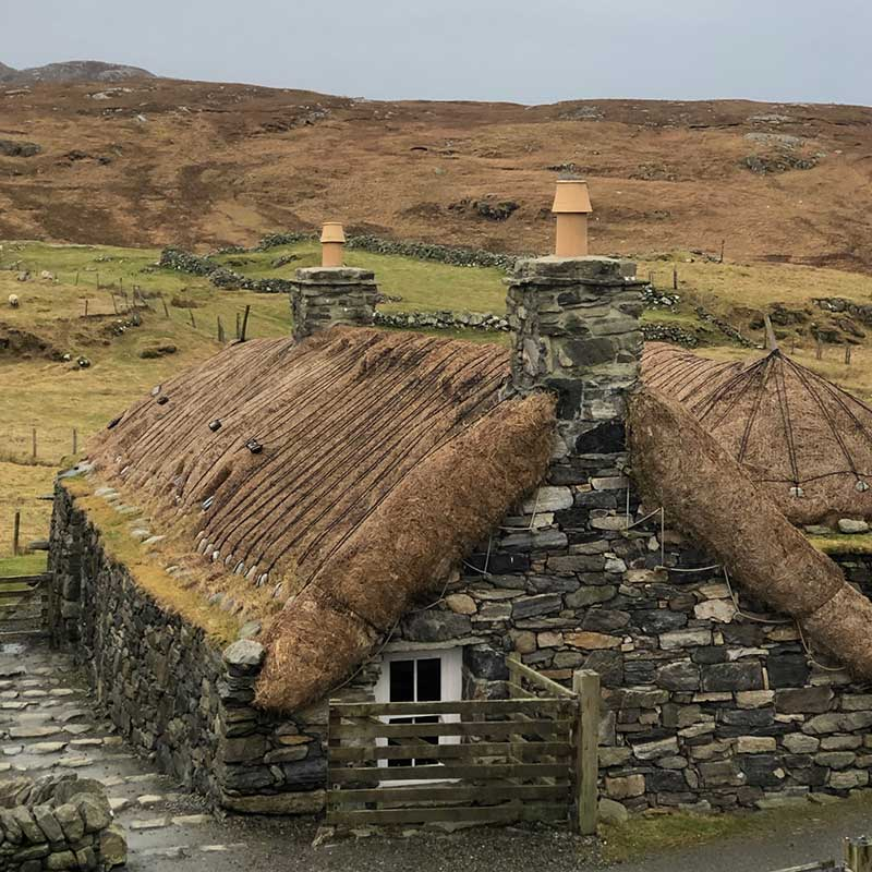 These blackhouses were built in the late 1800s and were lived in full time until the 1970s
