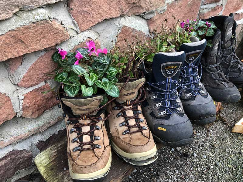 Uses for old boots — spotted outside a hiking shop in Ullapool