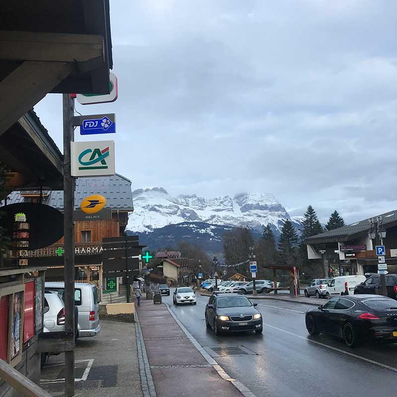 A glimpse of Combloux' snowy peaks