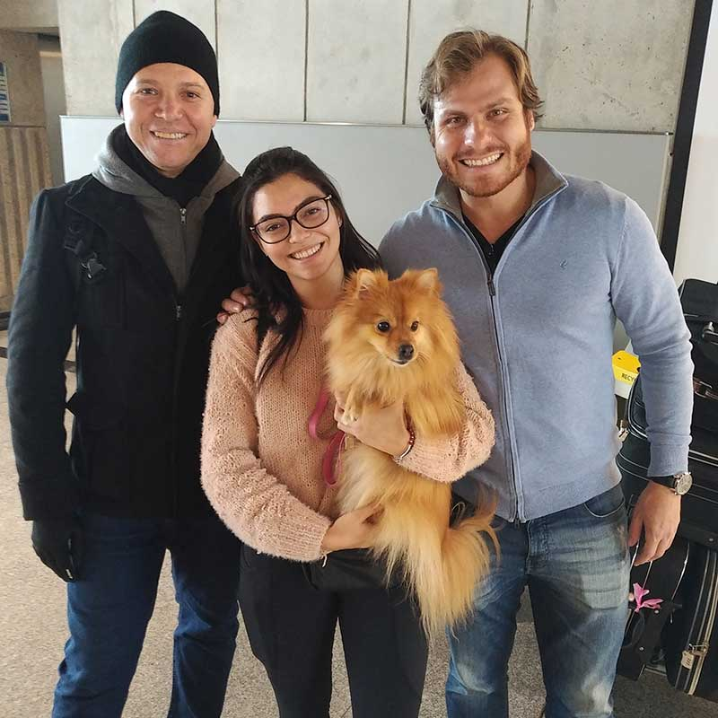 Channel hopping pets: Stefania and Rodriguez (R) with Ayla. A good friend of theirs who lives in Paris popped by to say hello and stayed for the photo!