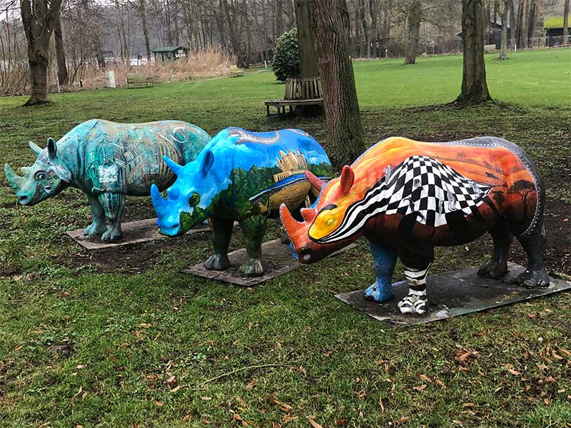 We stopped for the night at a hotel in Schwerin, by the side of the lake. In the hotel grounds we came upon a herd of brightly painted rhinos.