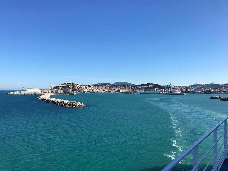 Amazingly blue sky and sea as we left Ancona