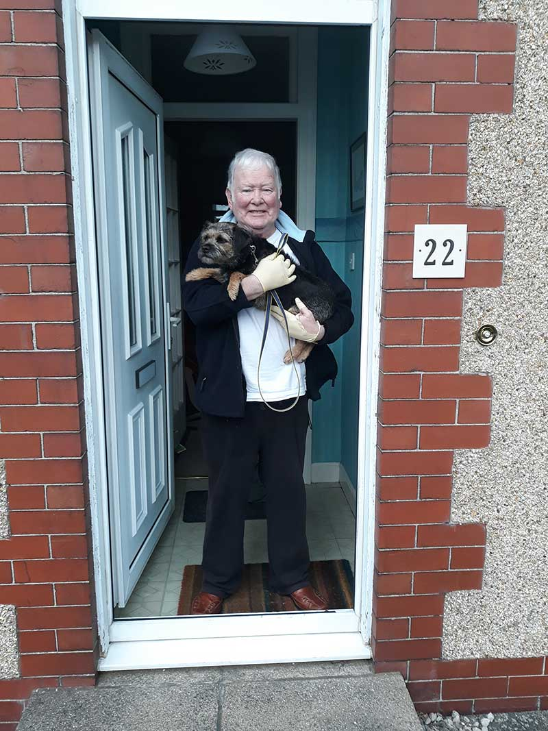 Mollie delighted to be back in the arms of her dad