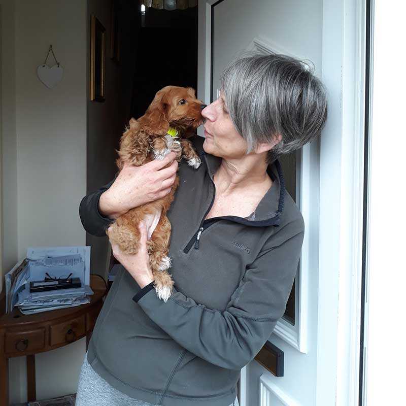 Ilse, the noisiest of the puppies, arrives at her new home with Ingrid in Potter's Bar