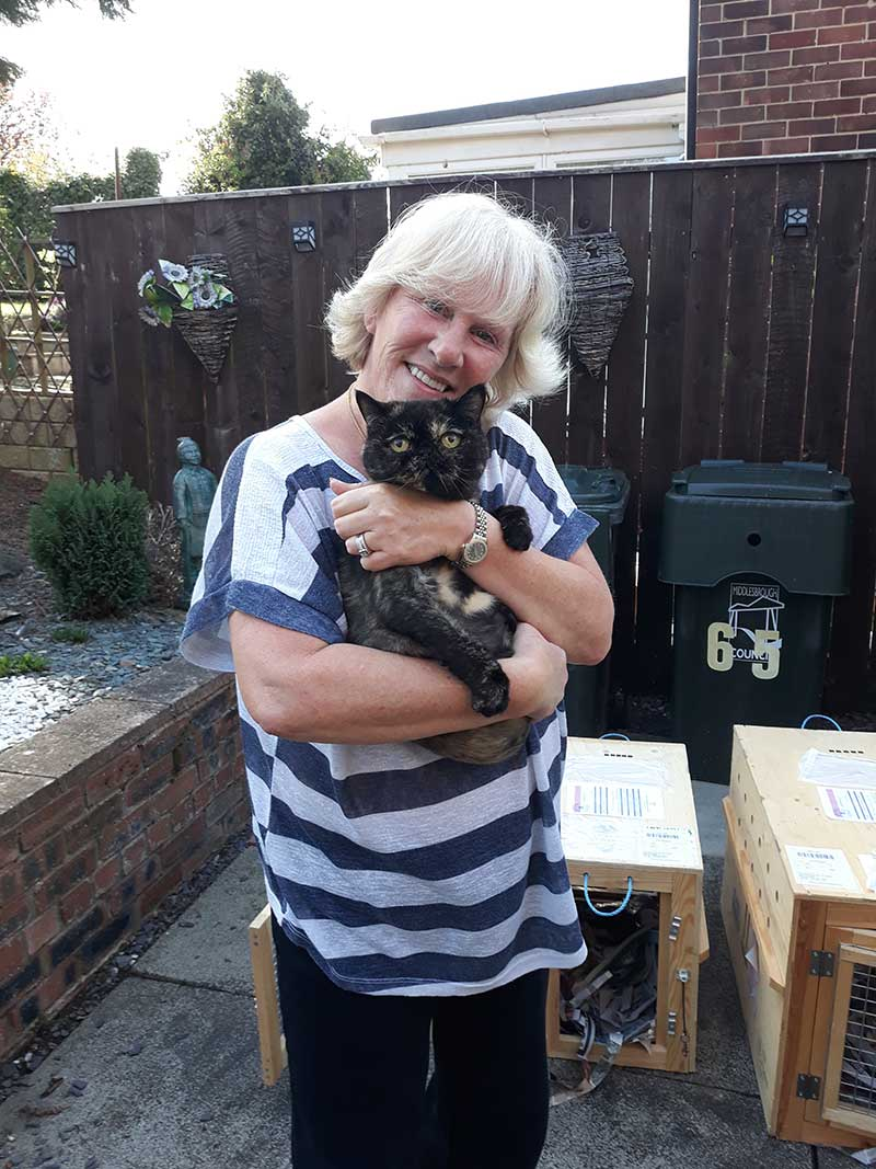 pet repatriations : Bella delighted to be back in the arms of her owner