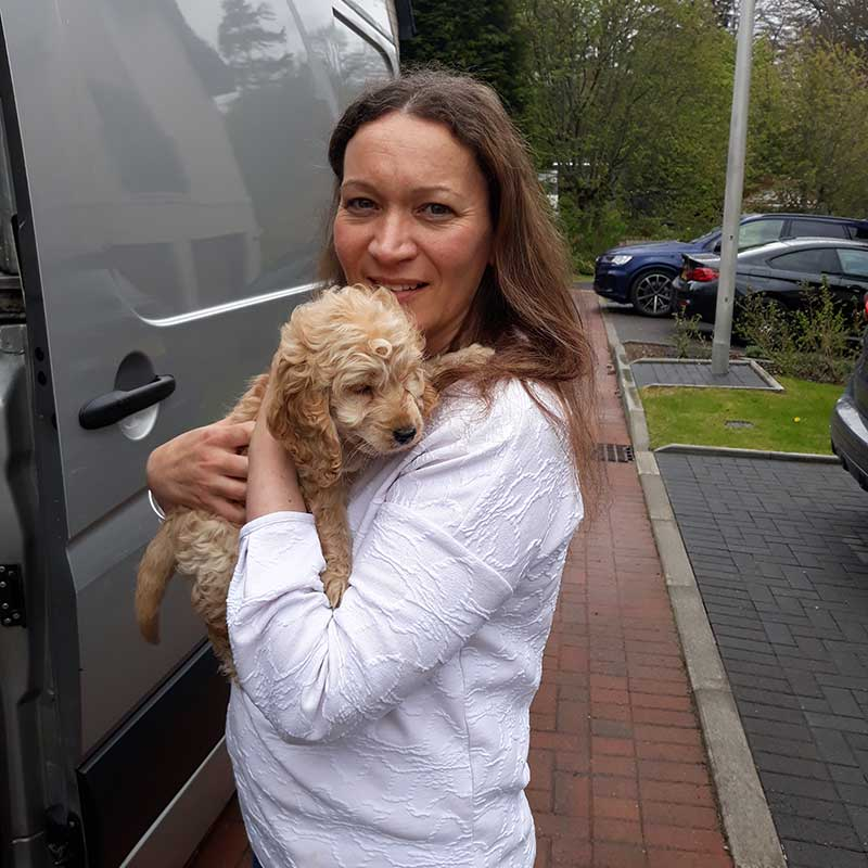Hugs for Freddie at his new home in Aberdeen