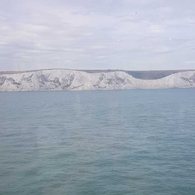 Approaching Dover's famous white cliffs