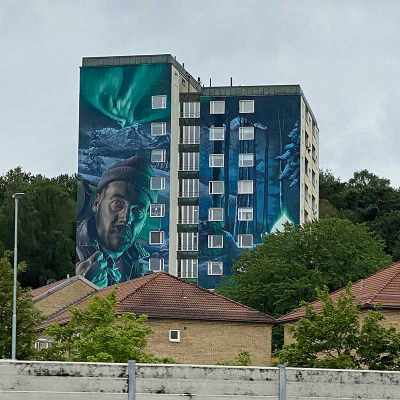 Driving through Partille near Gothenburg, we spotted these amazingly decorated buildings