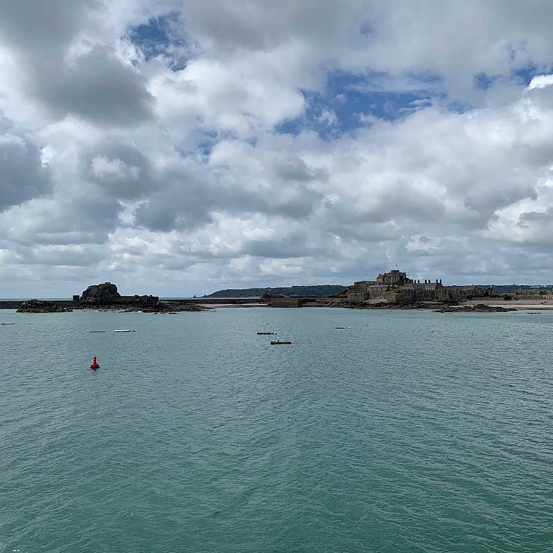 Approaching St Helier port, Jersey. In the distance you can see Elizabeth Castle, which dates back to the 16th century.