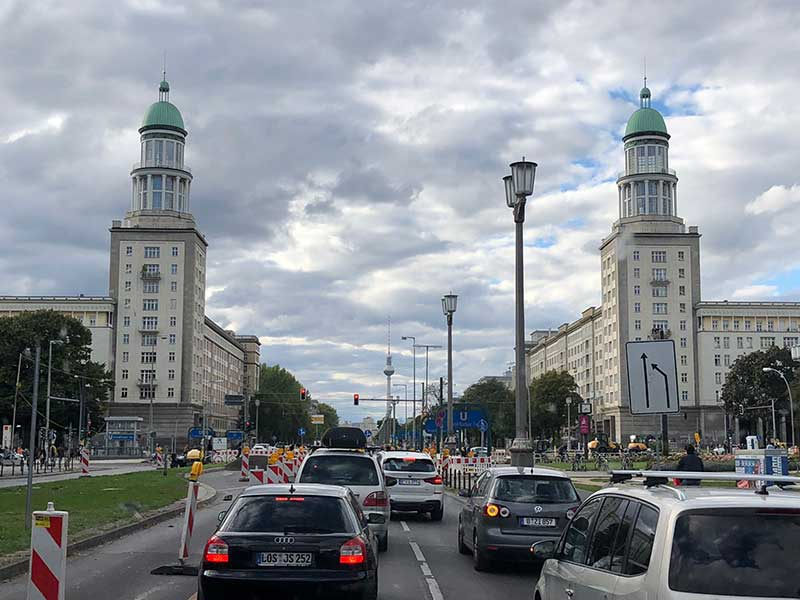 Driving along the fabulous Karl Marx Allee in Berlin, built between 1952 and 1960 — a real GDR propaganda showcase