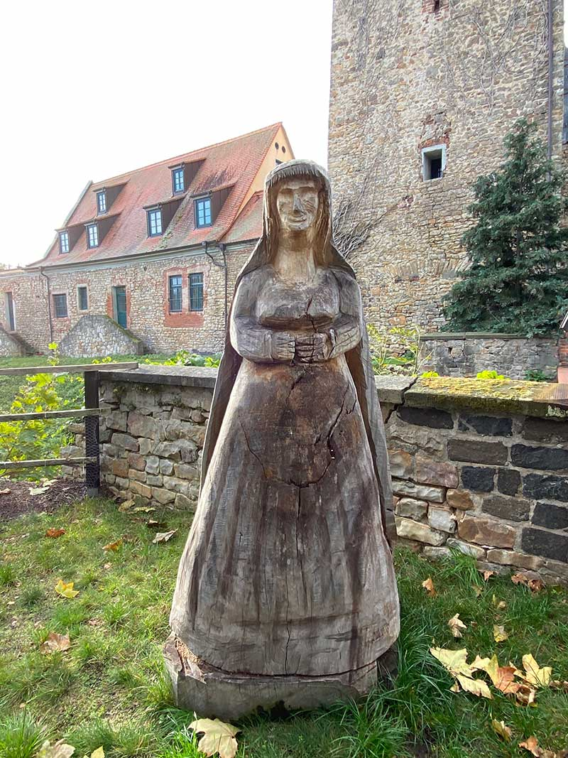 There were a number of quite stern-looking wooden statues dotted around the grounds