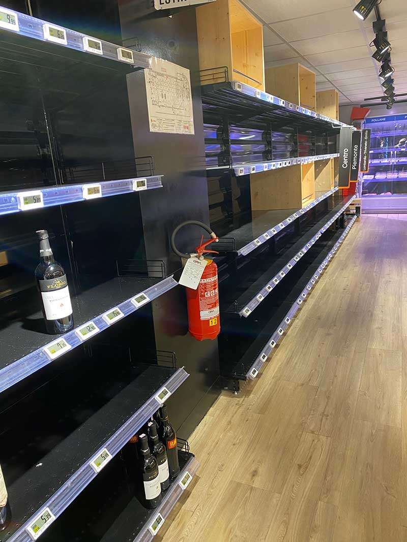We popped into a supermarket for some disinfectant. Despite the fact that Italy was poised to enter lockdown, all the shelves were very well stocked — except for the wine aisle!