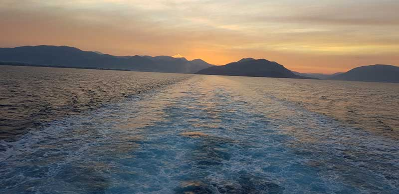 Early morning view on board the ferry from Igoumenitsa to Corfu