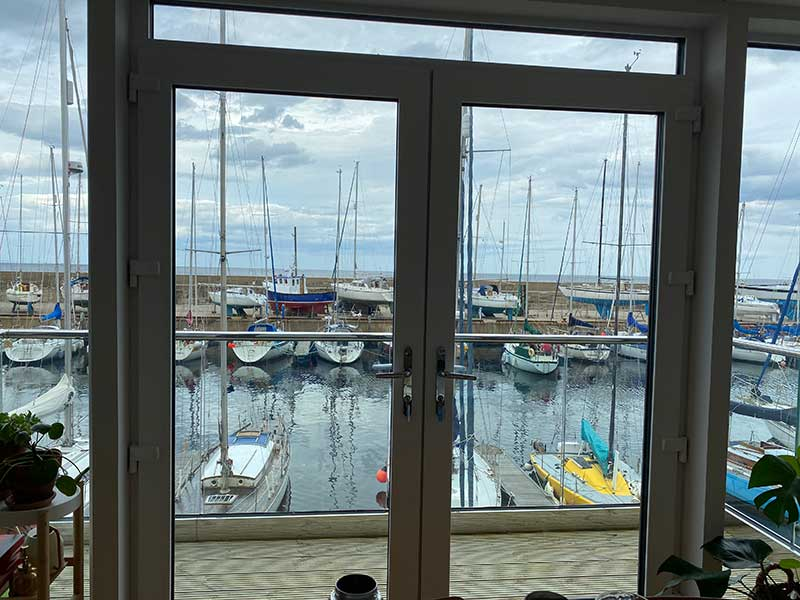 Toby (and the rest of the family) have a stunning view of the harbour