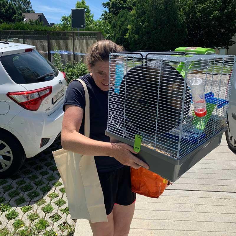 Reuniting pets: Here's Josie welcoming her beloved hamster Sergey in St Sulpice, Switzerland