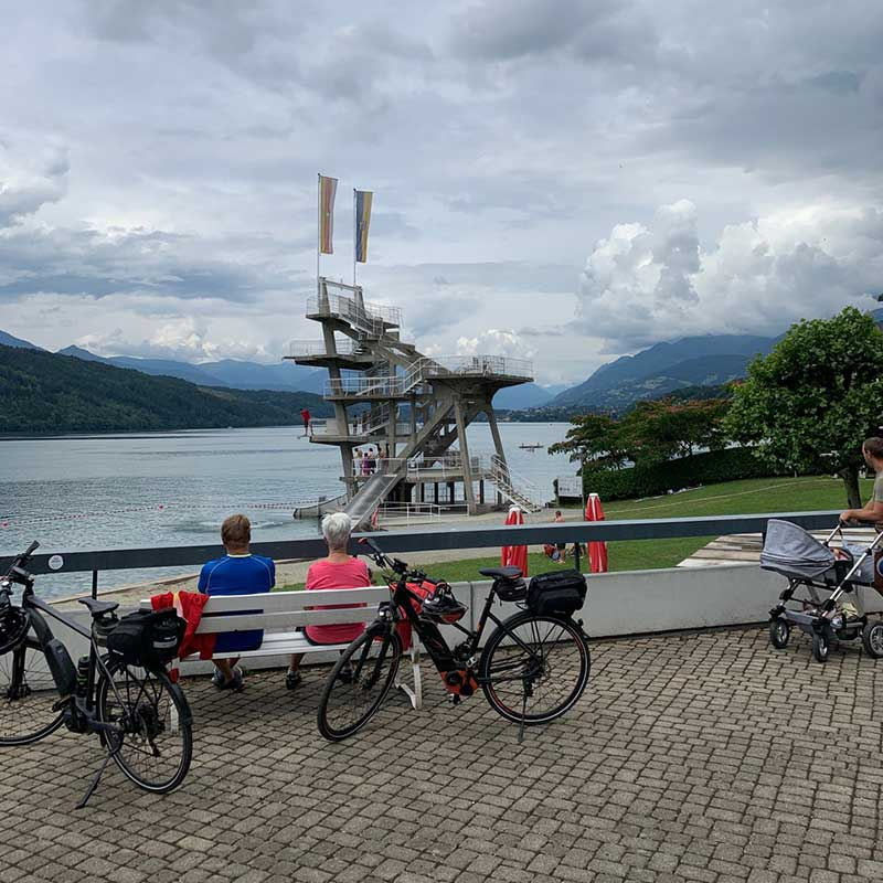 The lake at Millstatt — with a diving board that's not for the faint-hearted!
